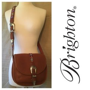 Brighton Beaded Strap Leather Saddle Bag